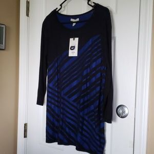 Dana Buchman Black & Blue Striped Shirt New Size L
